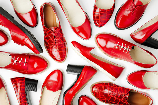 Stylish female spring or autumn shoes in red colors. Beauty and fashion concept. Flat lay, top view