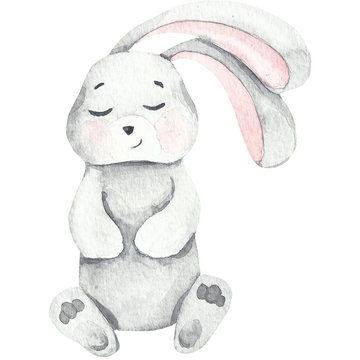 Watercolor baby bunny love, white cutte bunny and rabbit