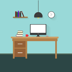 Workplace in office. Cabinet with workspace with table and computer. Flat style vector illustration.