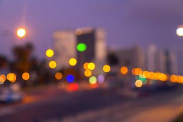 Defocused city lights of Tel Aviv