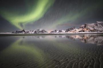 Northern light in Lofoten Islands, Nordland, Norway