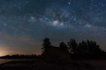 milky way galaxy with stars and space dust. soft focus and noise due to long expose and high iso.