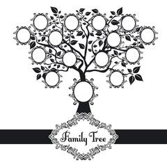 Vector illustration family tree black