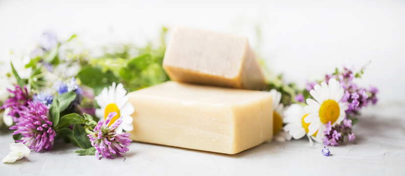 Natural handmade skincare. Organic soap bars with plants extracts