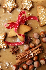 christmas gingerbread cookies and baking spices