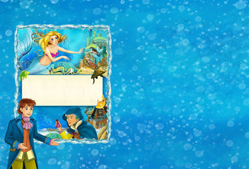 cartoon scene with mermaid princess and prince - title page with frame for text - illustration for children