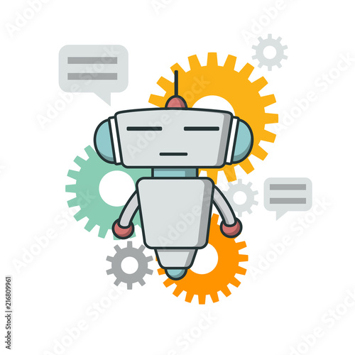 Bot icon  Chatbot icon  Cute Outline robot  Vector flat line
