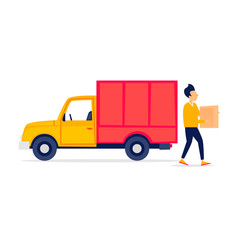 Shipping, trucking, man carries a box, truck. Flat style vector illustration