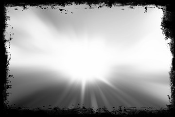Grunge frame with sunlight burst, abstract design background