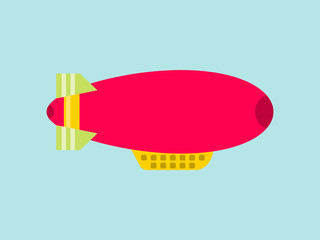 Red dirigible on a sky background. Airship isolated. Vector illustration