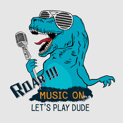 Dinosaur Tyrannosaurus Rex singing with microphone. Graphic tee. vector design for t-shirt printing and embroidery apparel.