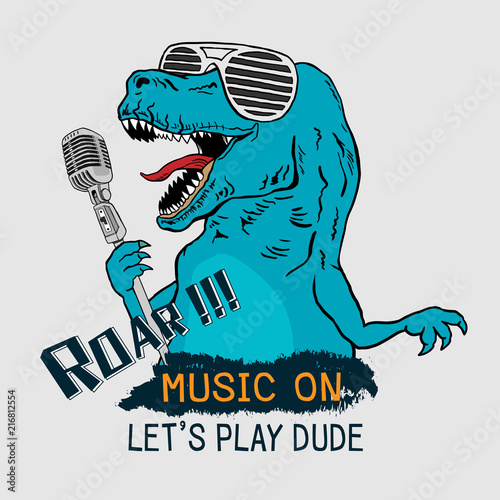 Dinosaur Tyrannosaurus Rex Singing With Microphone Graphic Tee Vector Design For T Shirt