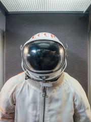 Soviet cosmonaut or spaceman suit with words USSR on helmet
