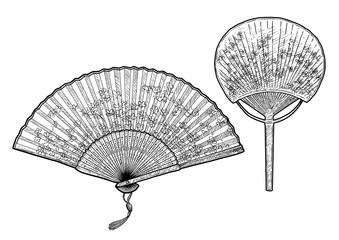 Folding fan illustration, drawing, engraving, ink, line art, vector