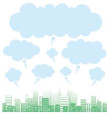 街並み シルエット 吹き出し 雲