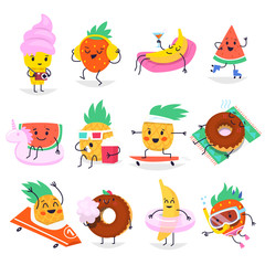 Cute summer fruit characters having fun and relaxing