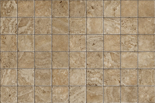 Travertine tile ceramic, mosaic square design seamless texture, mapping for 3d graphics