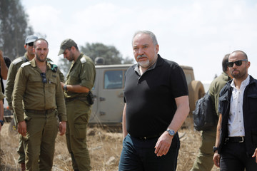 Israeli Defence Minister Avigdor Lieberman is seen during his visit at an army drill in the Israeli-occupied Golan Heights