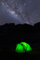A night in tent under milky way. Ancash, Santa Cruz trekking, Andes, Peru