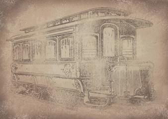 Old vintage grunge paper tram/streetcar background - Historisches Papier mit Straßenbahn Motiv