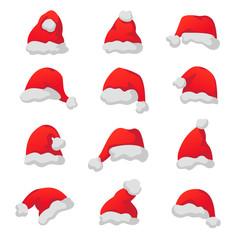 Vector set of red Santa Claus caps