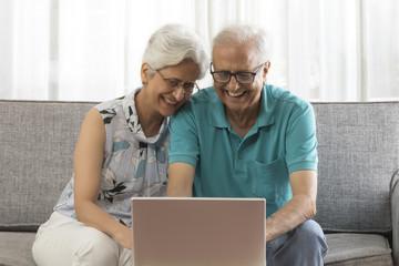 Senior couple using laptop sitting on sofa