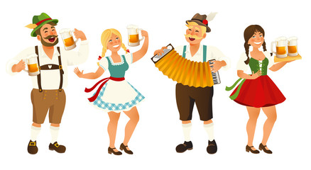 People in traditional German, Bavarian costume holding beer mugs, Oktoberfest, cartoon vector illustration isolated on white background. Full length portrait of German people in traditional costumes