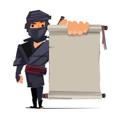 male ninja warrior showing old paper to presenting. ninja technique concept - vector