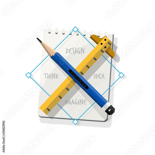 Pencil Cross Ruler With Sketchbook Symbol Of Design Personal