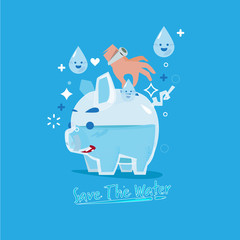 """human hand insterting droplet of water into glass piggy bank. come with """"Save the water"""" text in fluid style. save the water concept.  - vector"""