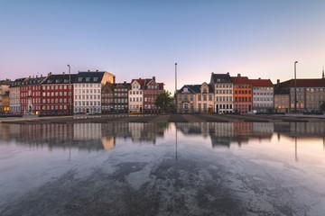Colorful houses at Dusk,Copenhagen, Hovedstaden, Denmark, Northern Europe.