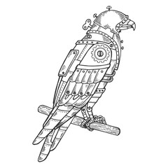 Mechanical hawk bird animal engraving vector