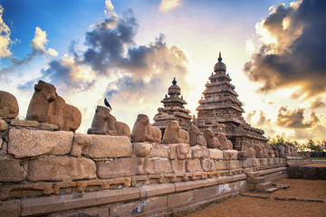 Photo shot on sunrise time where the historical buildings of Mamallapuram monuments are highlighted.