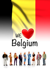 we love Belgium, A group of people pose next to the Belgian flag