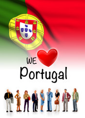 we love Portugal, A group of people pose next to the Portuguese flag