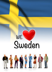 we love Sweden, A group of people pose next to the swedish flag