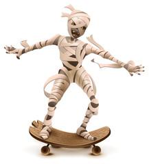 Egyptian cartoon mummy monster roll on skateboard