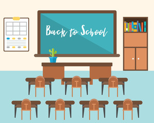 back to school background, classroom in flat design