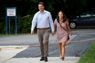 Democratic candidate Danny O'Connor, in Ohio's 12th congressional district, walks with his fiancee Spenser Stafford to a polling station to cast his his vote during Tuesday's special election in Columbus, Ohio
