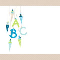 ABC & Schultüten Blau/Grün/Beige Punkte