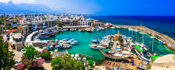 Printed roller blinds Cyprus travel in Cyprus - turkish part Kyrenia. View of old port