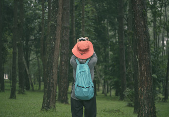 Freedom hipster traveler woman standing with backpack and enjoying a beautiful nature forest.