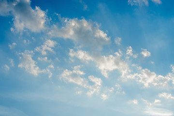Beautiful blue sky with clouds, natural background
