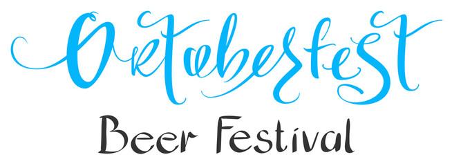 Oktoberfest beer festival handwritten ornate lettering text