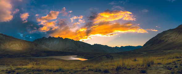 Beautiful paranomic nature and landscape twilight sunset of Zanskar Valley in the Himalayas Ladakh, Leh, India.