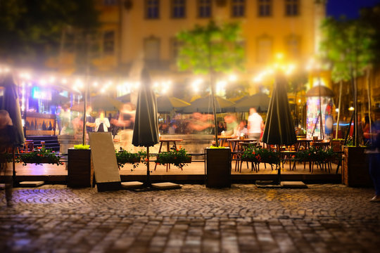 abstract blur image of night festival in a restaurant
