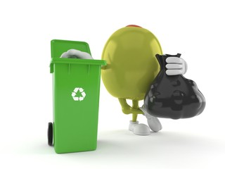 Olive character with dustbin