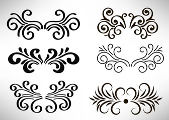 Abstract curly element set for design, swirl, curl. Vector illustration.