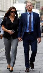England cricket player Ben Stokes and his wife Clare Ratcliffe return to Bristol Crown Court, in Bristol