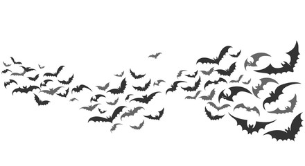 Bats flying. Vector vampire bat set isolated on white background, halloween scary creepy animals in sky horizontal path divider